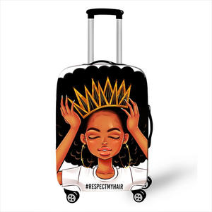 Afro Lady Girl print bagage cover bruin vrouwen/Afrika Schoonheid Prinses koffer covers elastische reizen trolley case cover