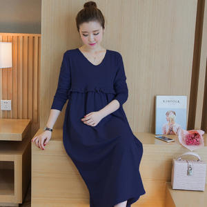 Hot Sale Plain Color Long Muslim Breastfeeding Dress For Pregnancy