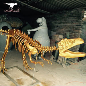 Golden dinosaur skeleton raptor replica for sale