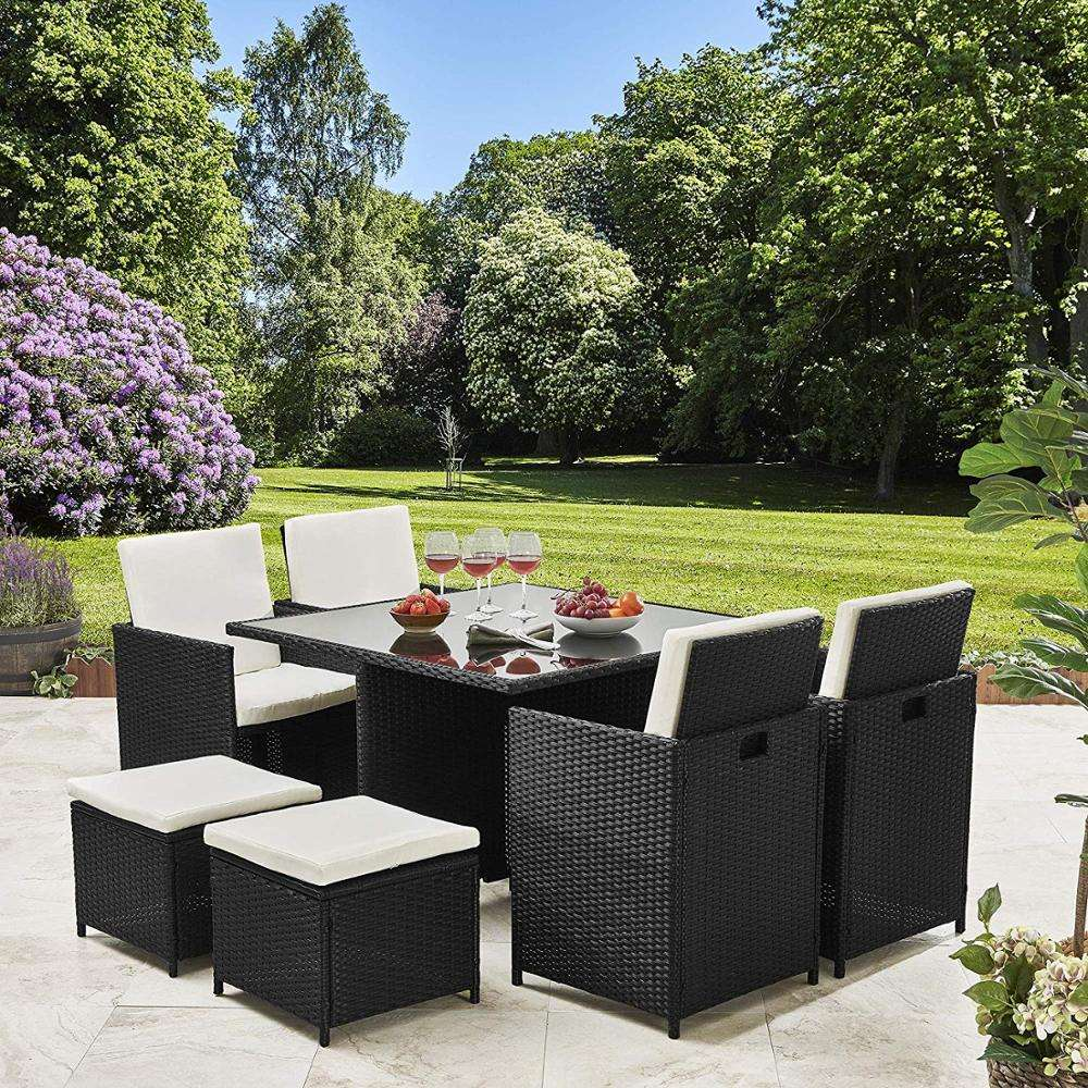 9pc Garden Rattan Furniture Cube Garden Set Wicker Cane Outdoor Furniture Dining Rattan Cube Garden Furniture