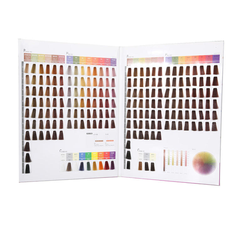 Ammonia free hair dye color chart with 197colors