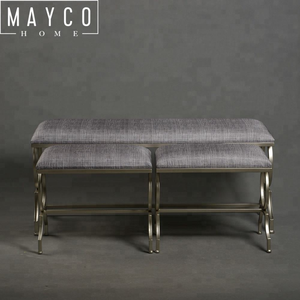 Mayco Nordic Furniture Modern Style Leather Metal Frame Ottoman Bench