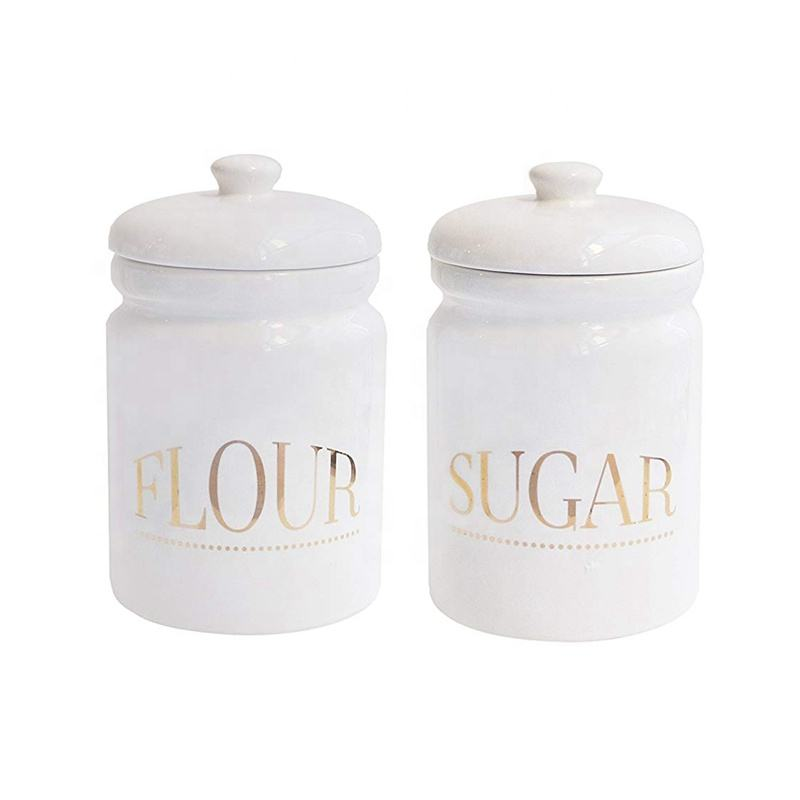 Customized Ceramic Kitchen Pantry White Canister Sugar Flour 2piece Jar Set with gold logo Printing