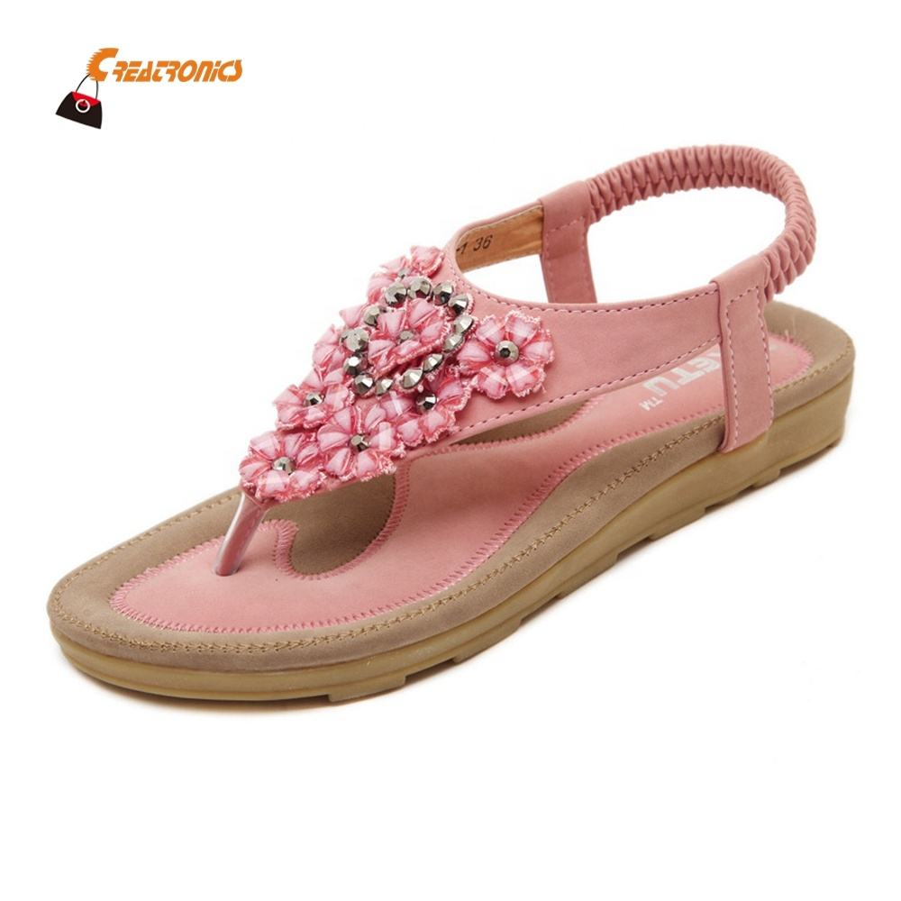 Bandage Design Ladies Flat Sandals Girls 2019 New Lady Shoes