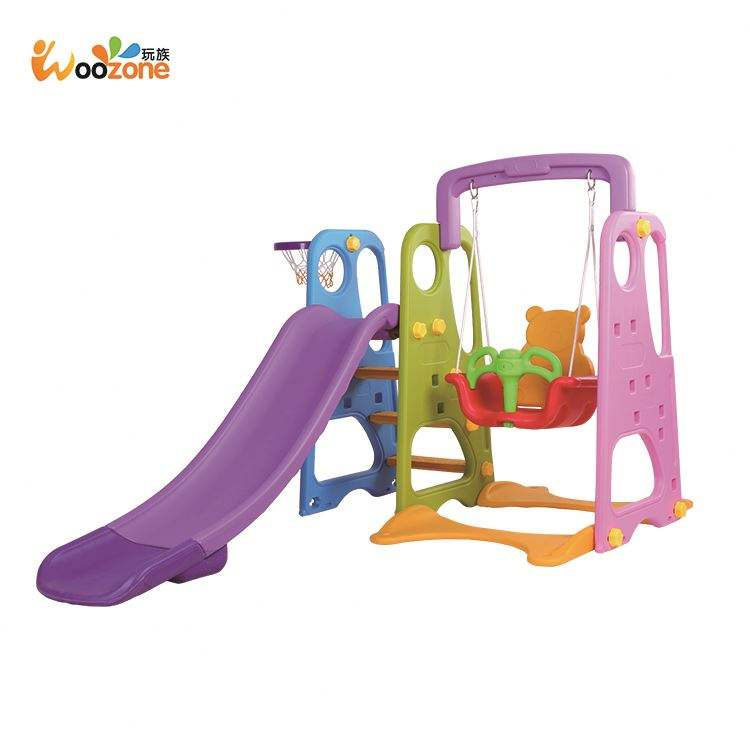 cheap preschool kindergarten indoor plastic kids swing and slide