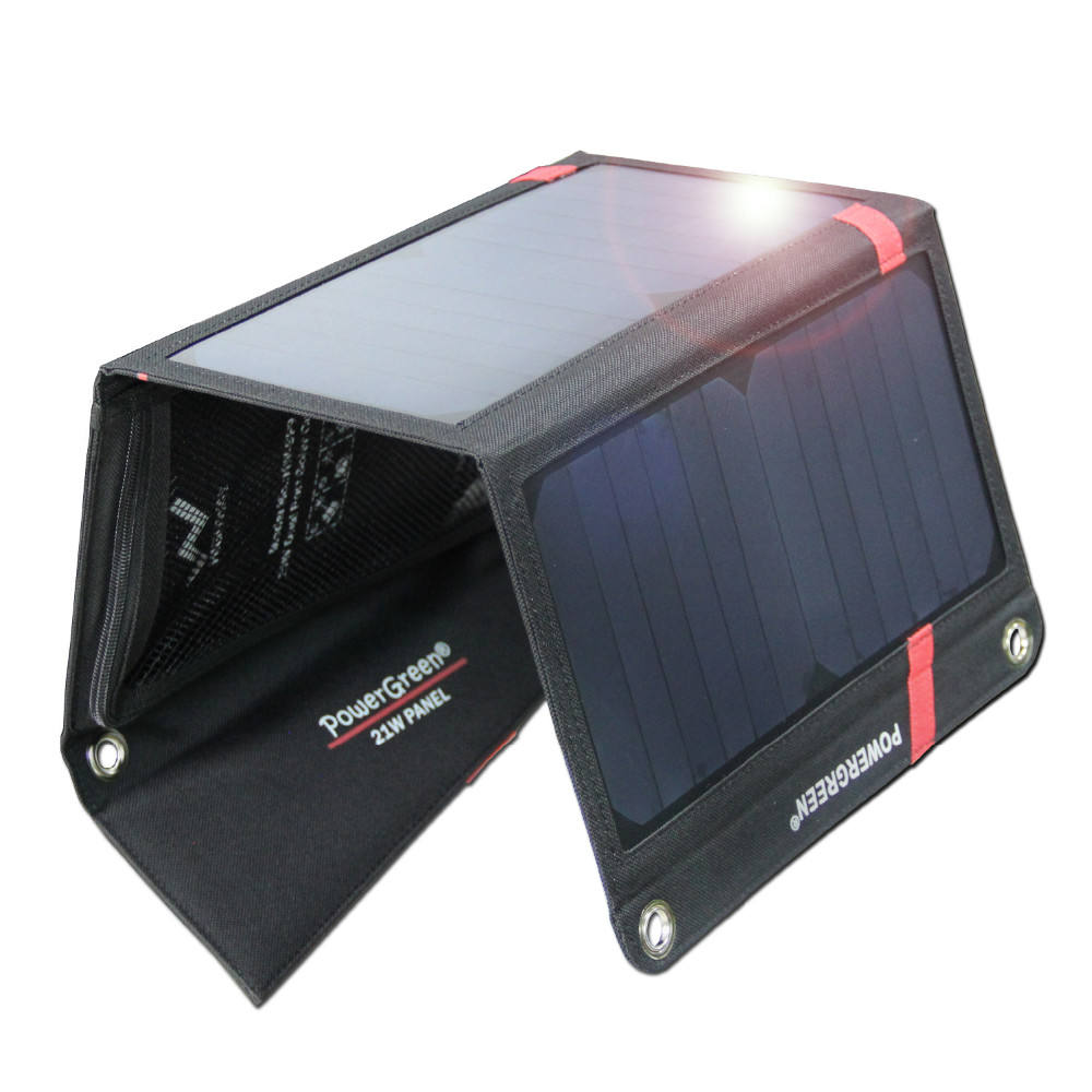 Flexible 21 Watts Sunpower Charger Bank Price India Dual USB Waterproof Solar Panel for Phone