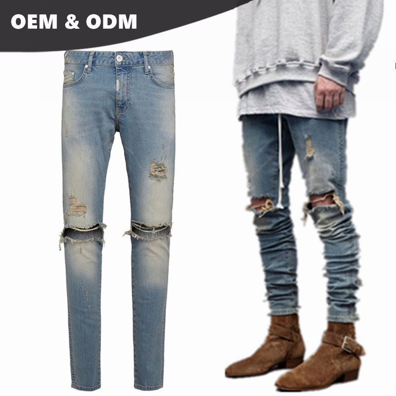 OEM own brand guangzhou jeans market buy jeans in bulk mens ripped destroyer denim jeans 11