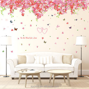 SK2005 Cherry Blossom Para Sakura Plant Flower wall sticker DIY decorative kids room wall decal