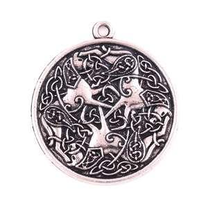 P633 Trade Assurance Antique Silver Noridc Knot Three Horses Pendant Viking Totem Warrior Horse Goddess Religious Jewelry