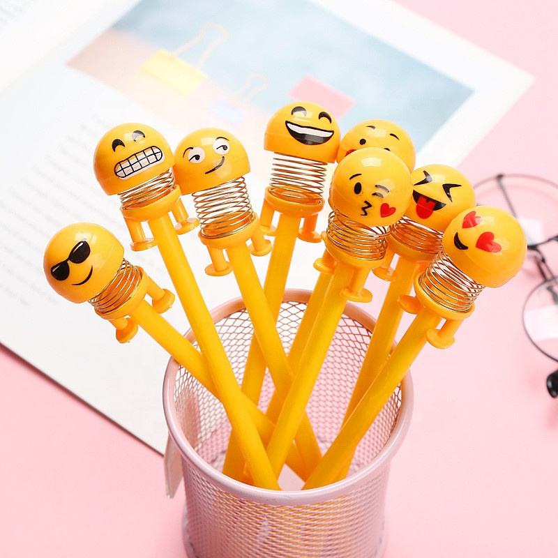 Cute Shaking Head Doll Pen Smiley Spring Q 0.5mm Refill Expression Black Gel Pen