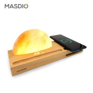 Masdio Himalayan Mineral Rock Salt Ambient Lamp with Qi Wireless Charging, Phone Stand for Iphone, Sumsung, Huawei