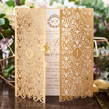 2018 Latest Design Gold Paper Laser Cut Wedding Invitation Card