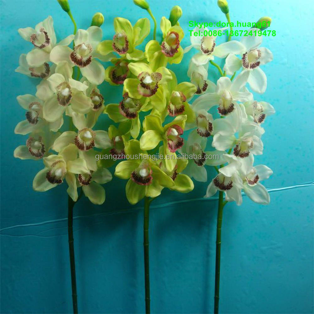 SJH121645 artificial flowers artificial plastic orchids white cymbidium orchids