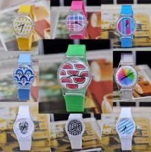 Hot Selling 11 Styles New Arrival Jelly Silicone Watch Fruit Plastic Child Kids Dress Watch Colorful DW017