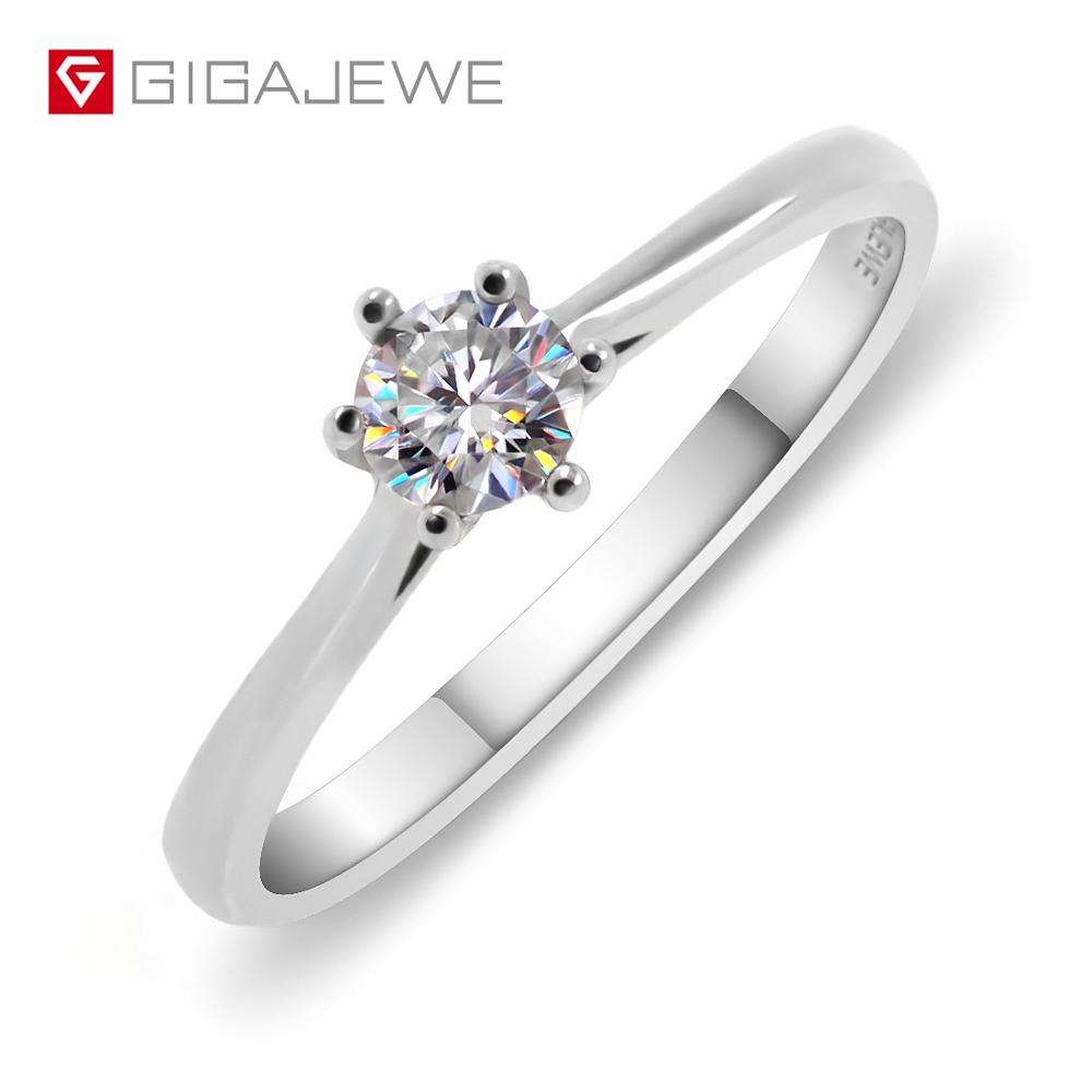 Moissanite Ring,0.25ct Moissanite Engagement Ring 925 Silver Round Cut White F Color Free Shipping