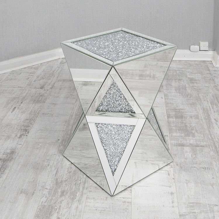 Modern crushed diamond mirrored side end table sparkle pedestal