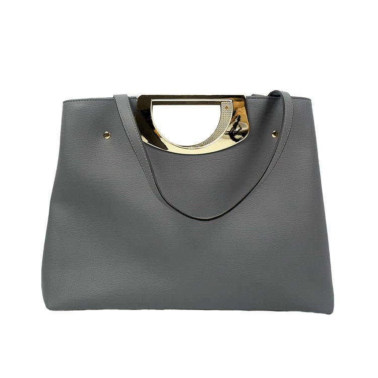 Alibaba china supplier leather metal short handle women bag handbag