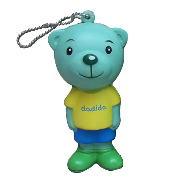 Custom bear scented slow rising squishy stress ball keychains