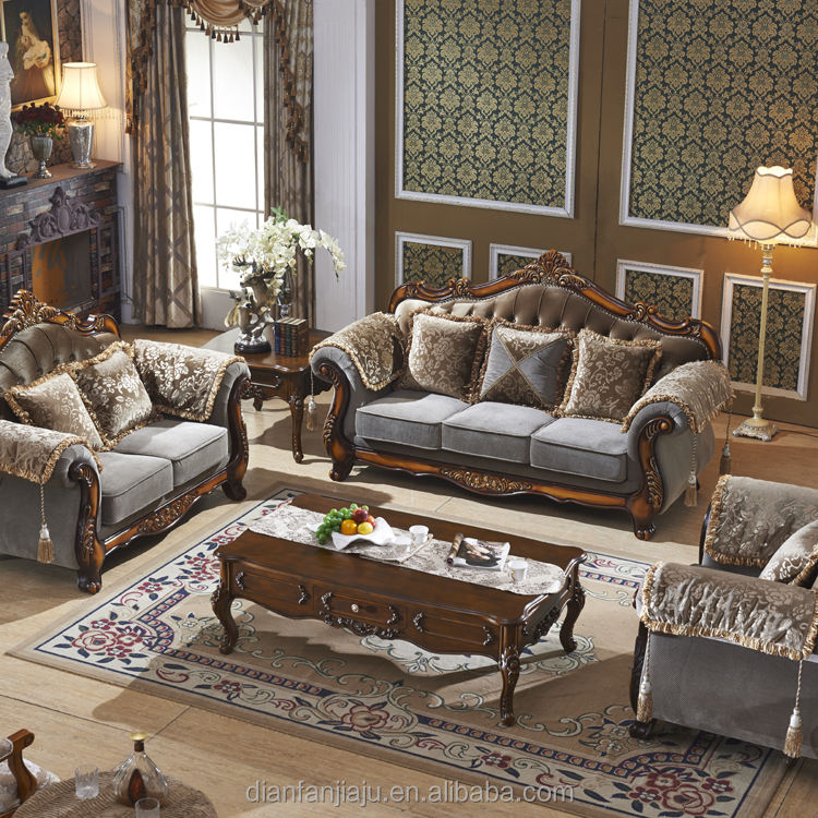 European style made by brocade fabric sofa set designs and prices for living room