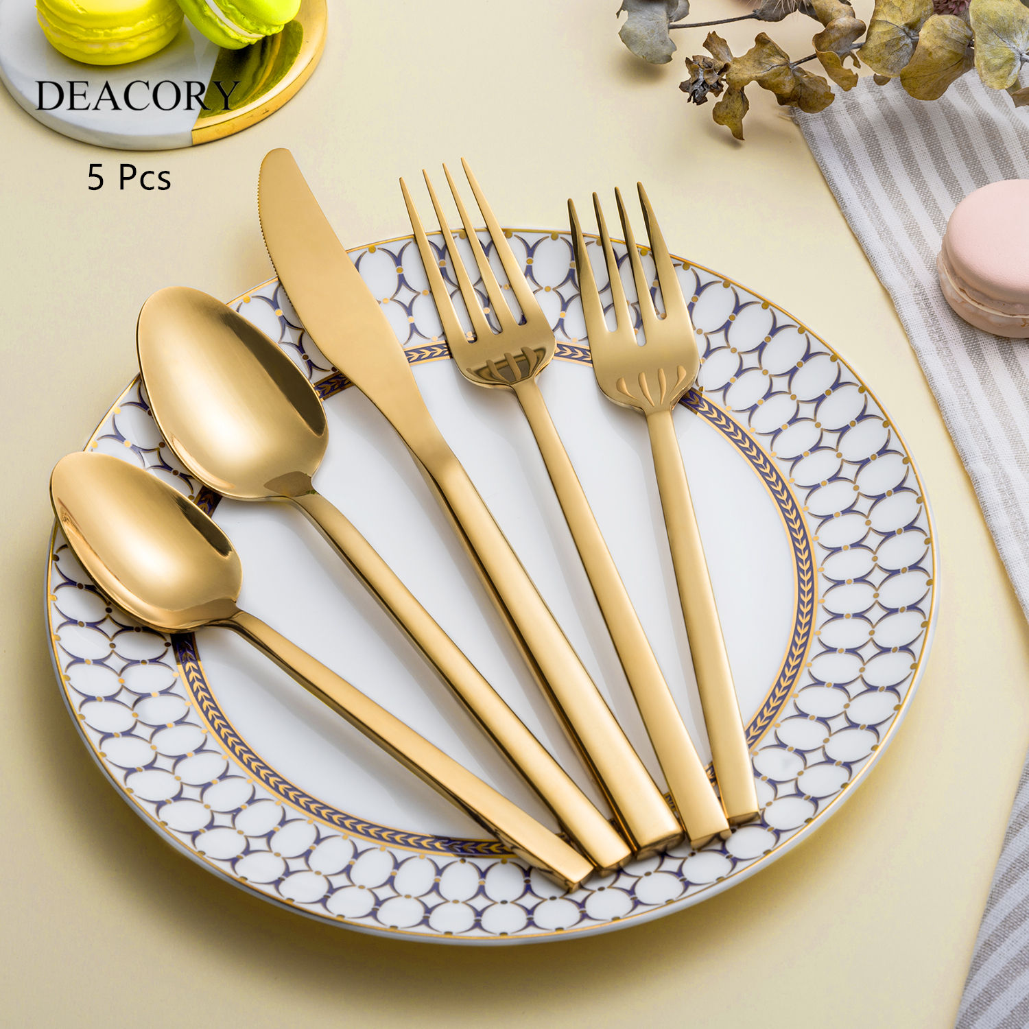 Wholesale restaurant cutlery, gold cutlery sets, stainless steel flatware for wedding