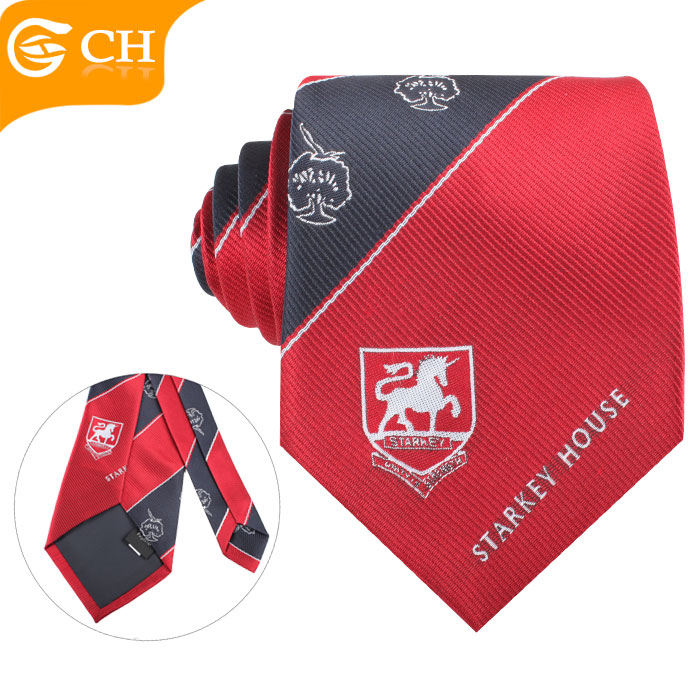 Mens Fancy Polyester Necktie Custom Company School Logo Woven Handmade Neck Ties