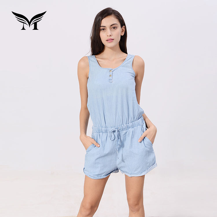 Latest design 100% cotton washed denim one piece women jumpsuits and rompers