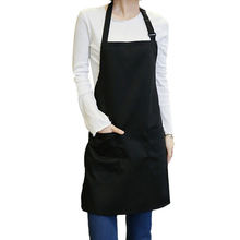 Logo Printed Black Polyester Cotton Kitchen Cafe Apron