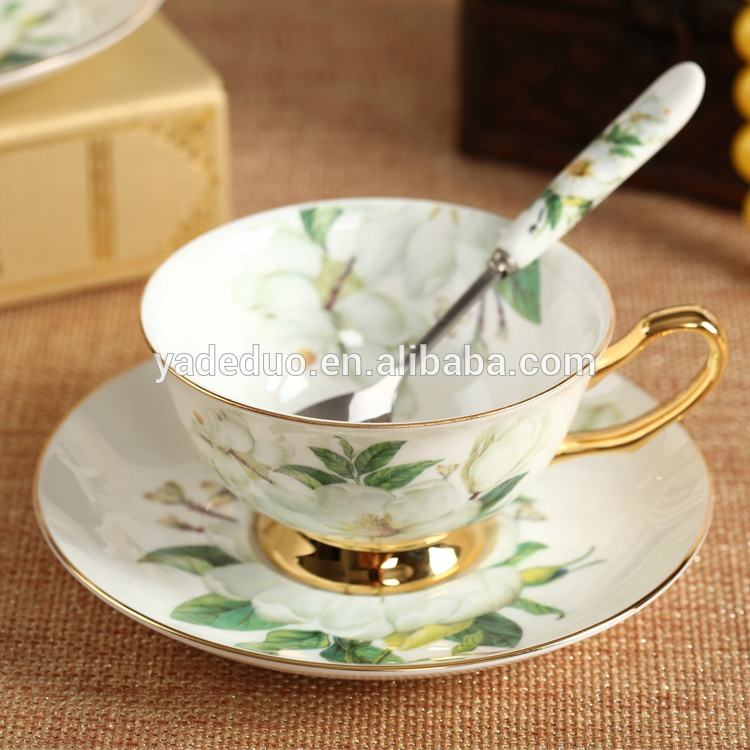 Arabic ceramic gold rim bone china coffee mugs porcelain tea cup set with saucer and spoon