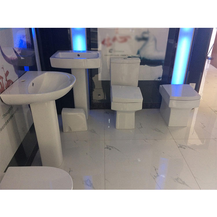 China bathroom ceramic wash down two piece corner toilet