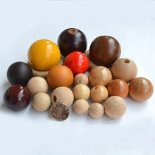 different size 10mm 100mm wood beads wood ball with hole colored paint wood ball