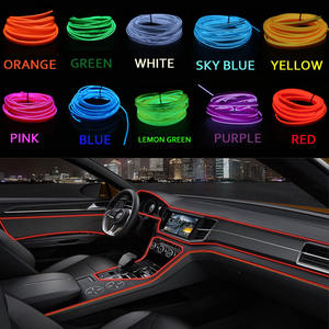 1/2/3/5 M EL Draad Met 6mm Naaien Rand Neon Light LED lamp Flexibele twinkle Glow Touw Buis Waterdichte LED Strip Auto Decoratie