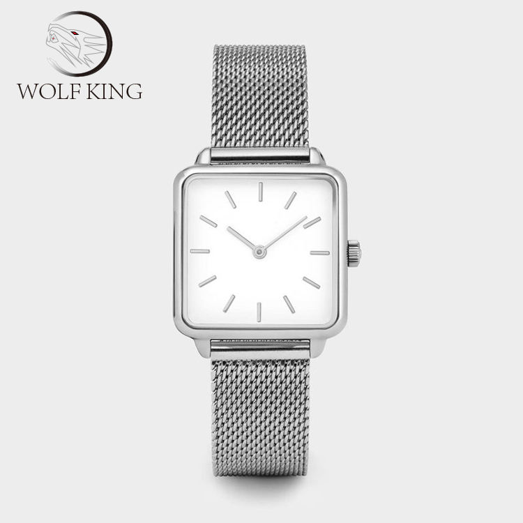 Square Shape Water Resistance Mesh Strap band Silver Mini Size Women Rectangular Watch