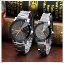 Couple Watches Fashion Stainless Steel Band Analog Gear Quartz Movement Wrist Watch