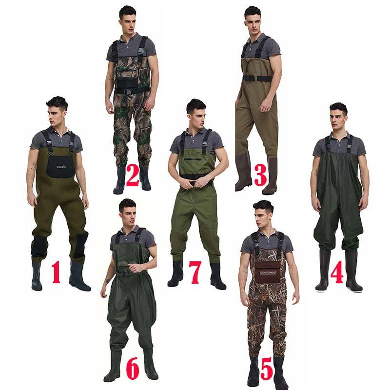 wholesale manufacturers men camo neoprene 70d nylon fly fishing waterproof pvc waist high chest hunting fishing waders for sale