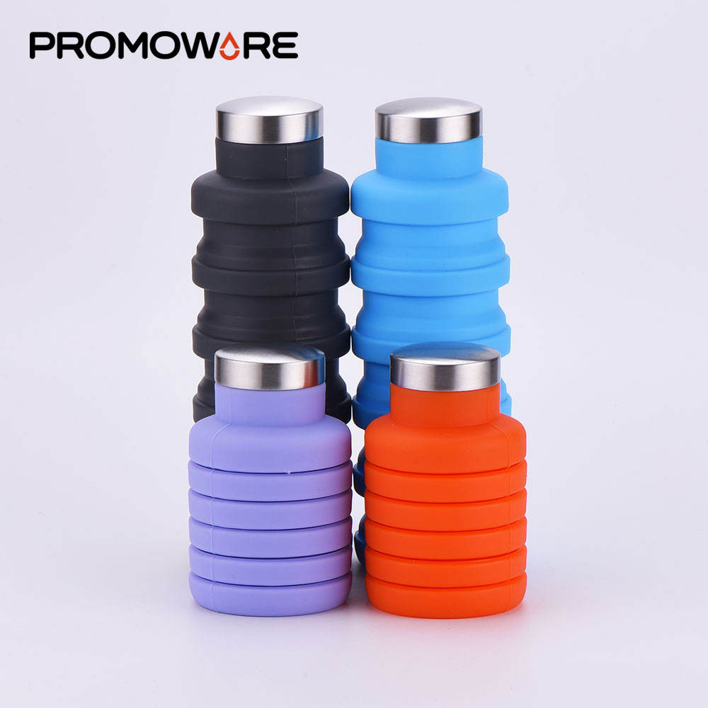 Wholesale Private Label BPA Free Expandable Collapsible Folding Water Bottle Travel Sports Drink Silicone Foldable Water Bottle