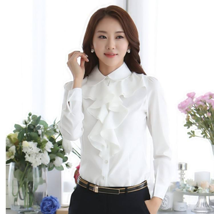 ZH2509G Girl Black / White Women Office Blouses Long Sleeve Formal Blusas For Ladies 2018 Spring Shirts Tops Ruffle Fashion OL