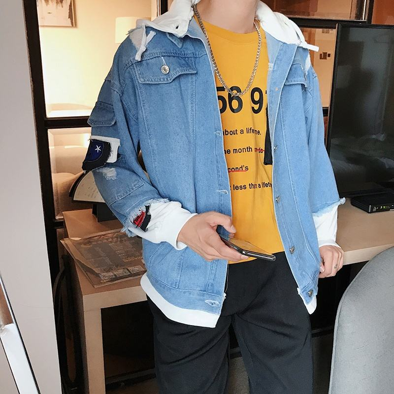 Spring autumn high quality new design Splicing hooded jeans jacket for man broken hole denim coat with hat