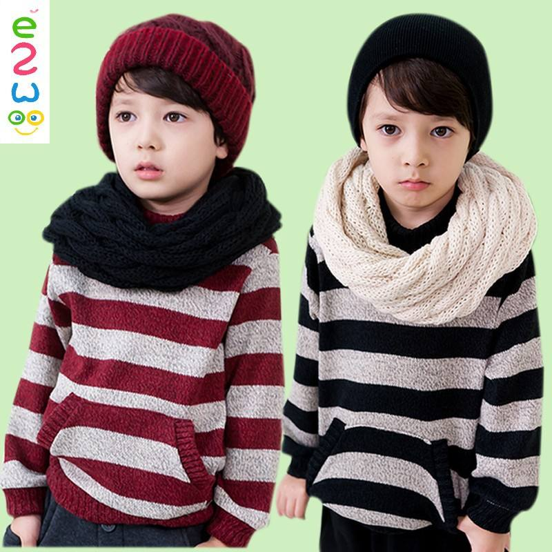 Children Striped Stand Velour Cool Boys Winter Sweatercoat