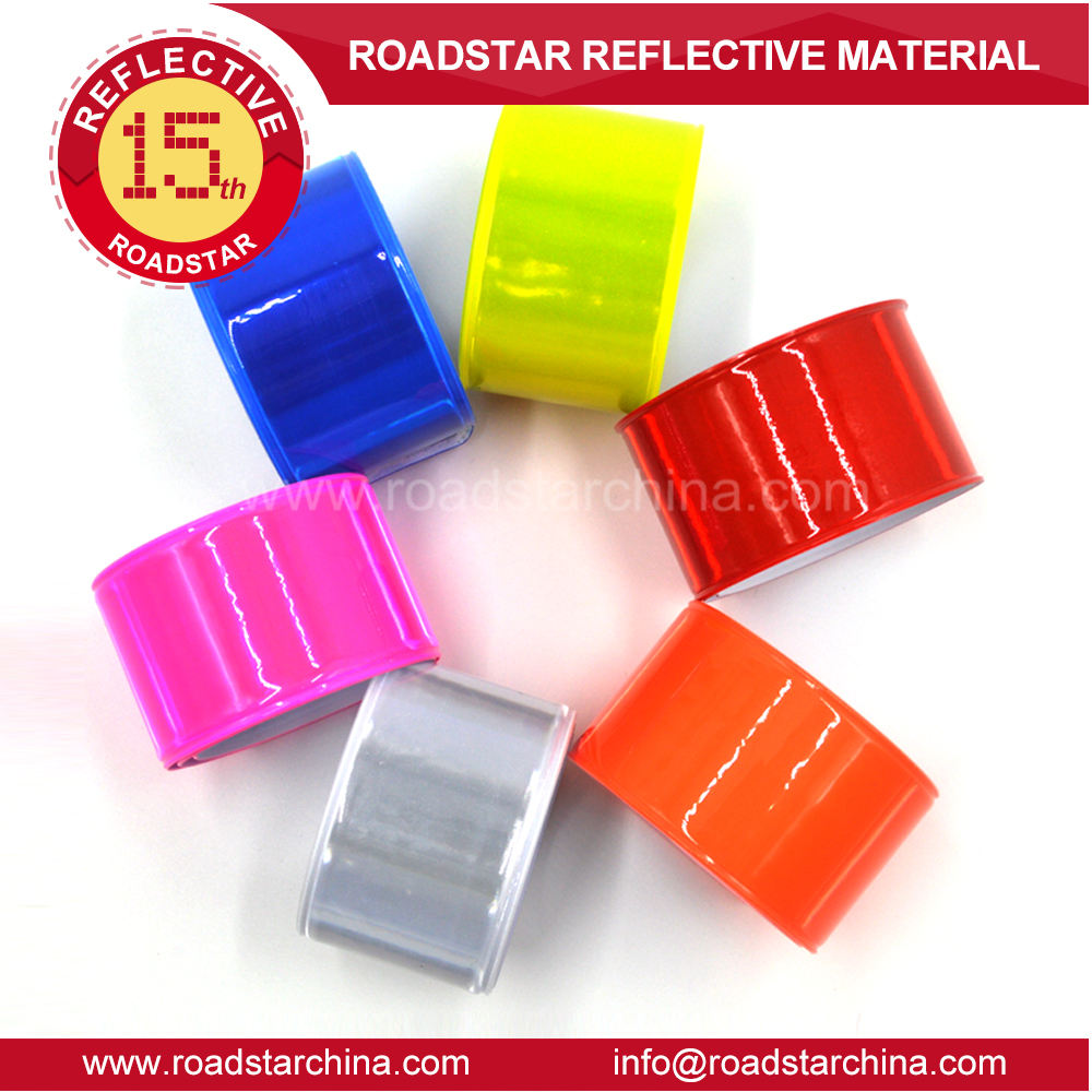 kids high quality pvc wrist slap wristbands safety reflective slap wrap