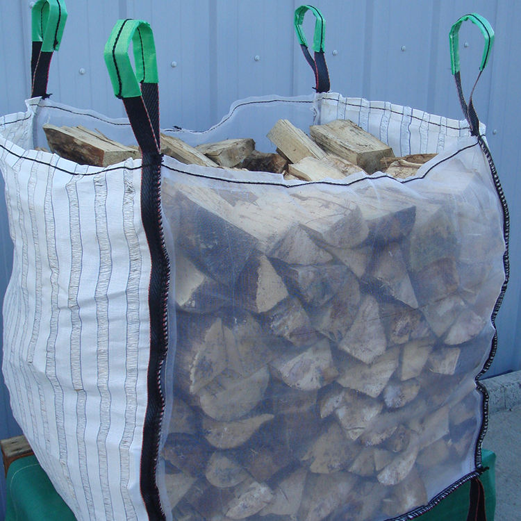 big bag for firewood with two side mesh fabric &2side ventilated fabric durable firewood bulk bag breathable firewood potato bag