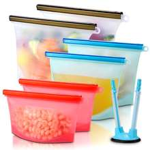 500ML 1000ML 1500ML 4000ML Reusable Food Grade Leakproof Vacuum Cold Ziplock Silicone Food Storage Bag