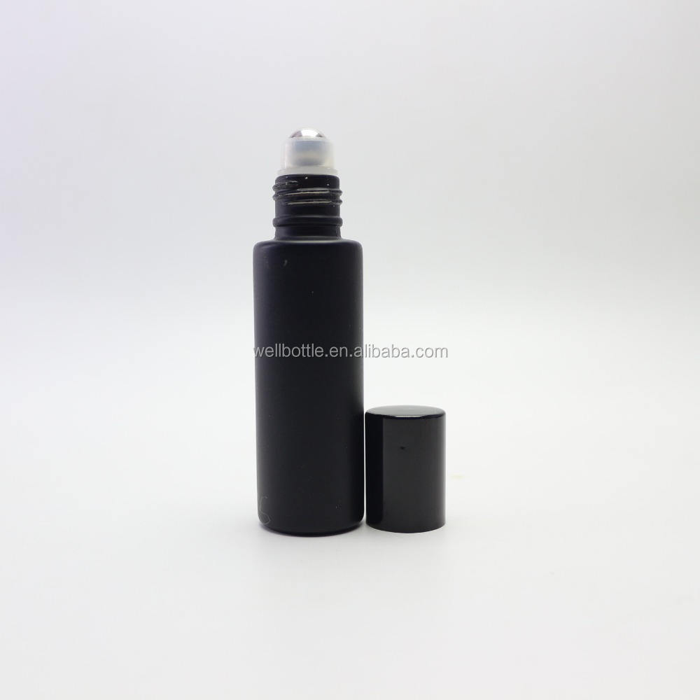 5ml 10ml 15ml Black matte glass roll on bottles black frosted glass roller ball bottles Roller-017RL