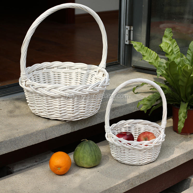 factory wholesale round white willow wicker basket/ fruit /vegetable tray/storage basket with handle, factory supply