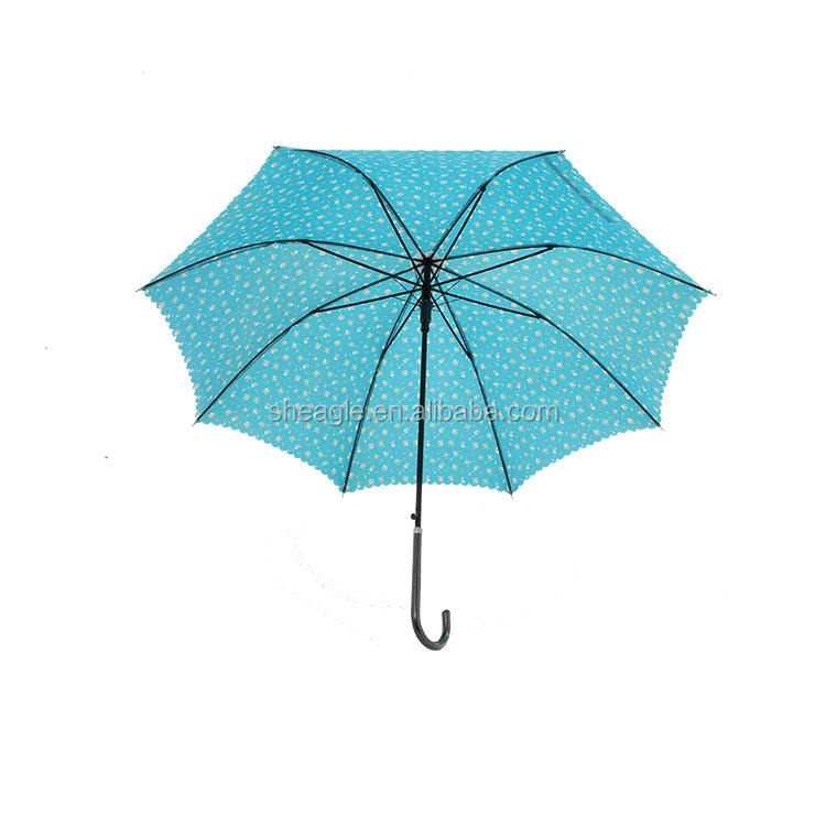 high quality wave edge and bloom flower straight umbrella