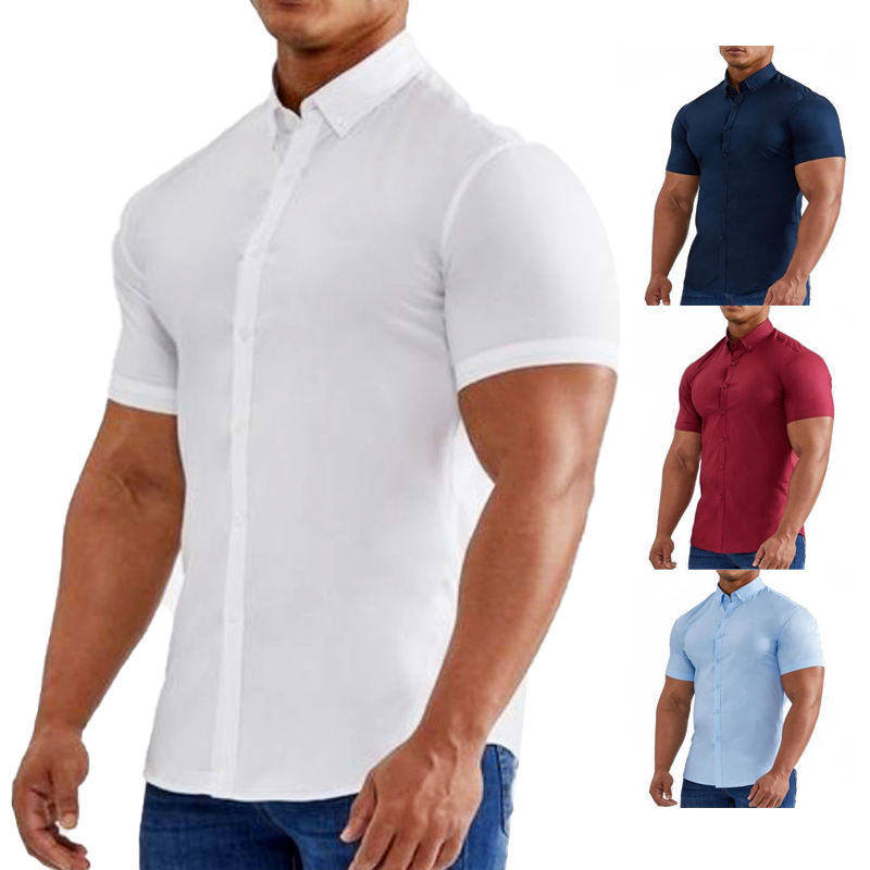 Short Sleeve Stretch Muscle Fit Men Sportswear Athlete Mens Shirts