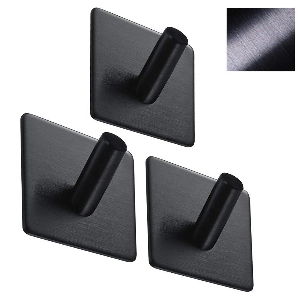 Black 304 Stainless Steel Robe Hooks Towel Stands Strong Sticky Wall Hook, Kitchen Self Adhesive Hooks