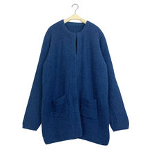OEM New design round neck open front sweater navy blue comfortable casual women crochet long cardigan with pockets