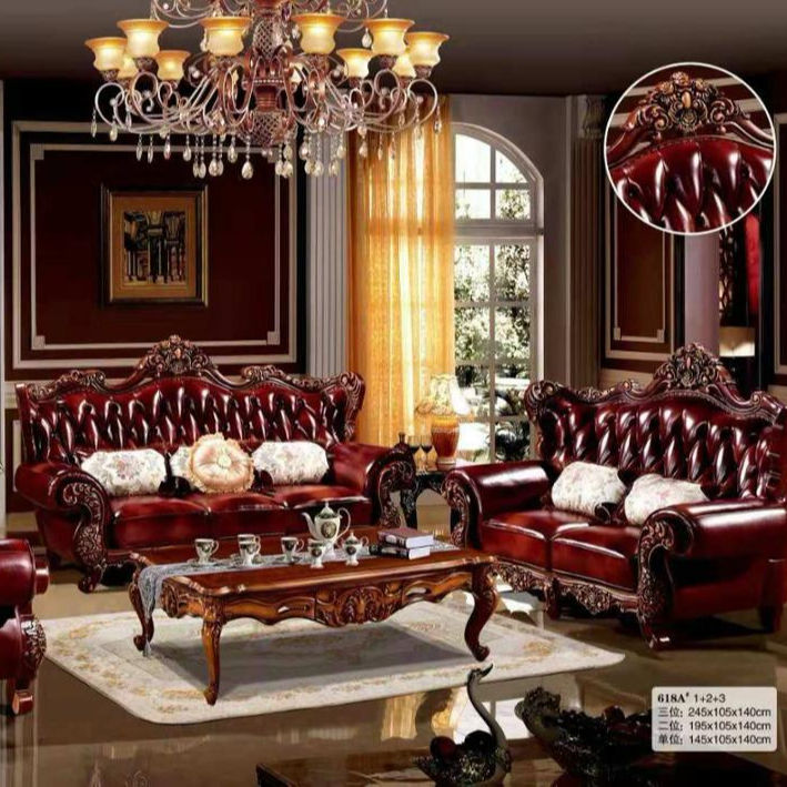 high quality European antique living room sofa furniture genuine leather 1+2+3 set mgsf618