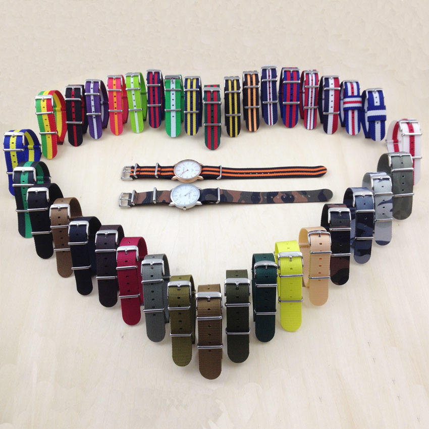 Wholesale factory price quality colorful 16/18/20/22mm exchangeable nato strap