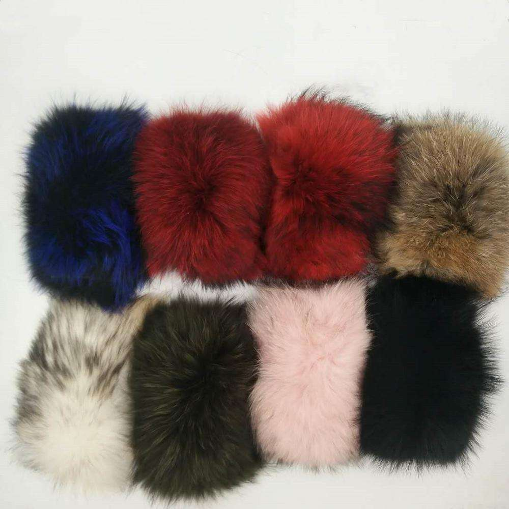 women shoes decoration fur piece customized color size raccoon fur for slides slippers